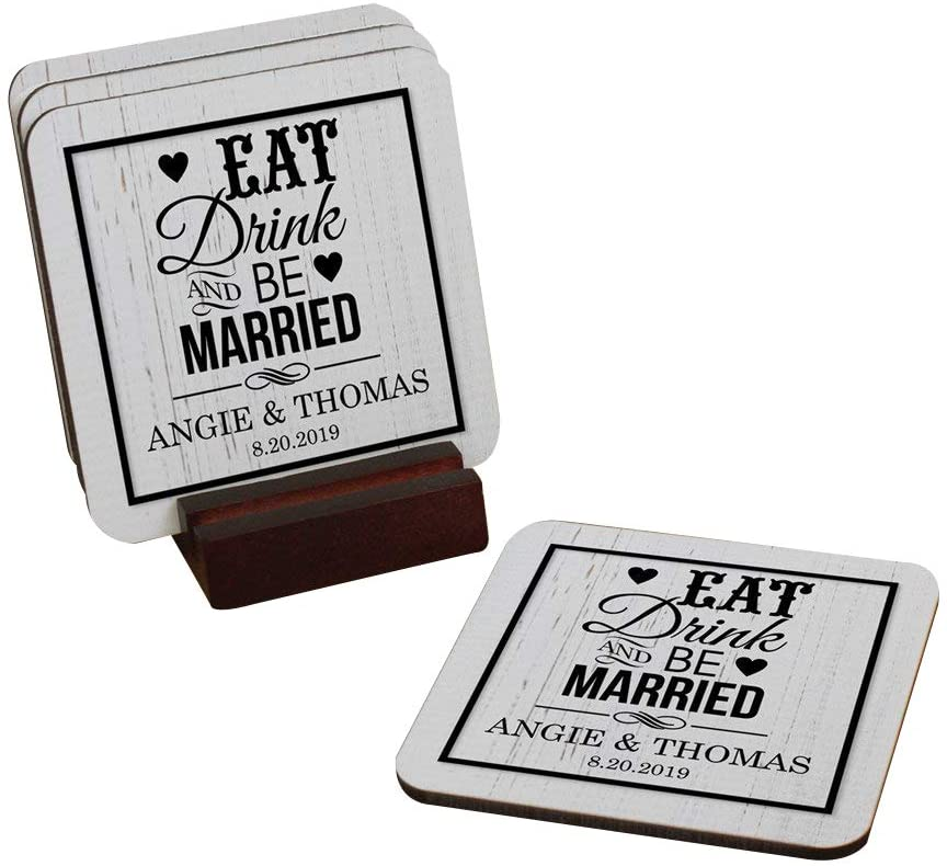 Eat, Drink, And Be Married Personalized Coaster Set