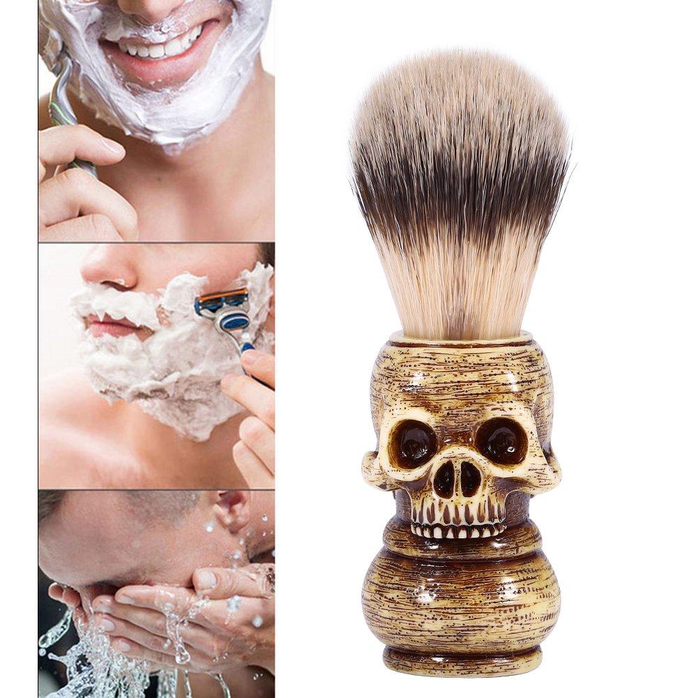 Beard Brush, Mens Grooming Tool Makeup Skull Head Beard Shaving Brush, Home Barber Salon Shaven Tool