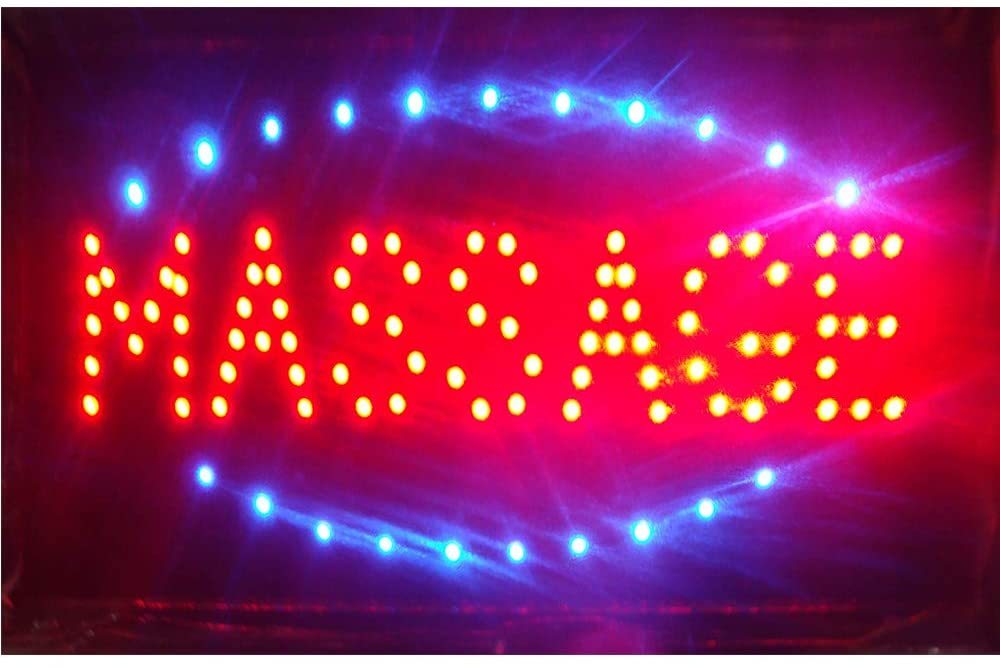 Massage Sign for Open Business - Led Massage Open Light Sign - Ultra Bright Led Open with a Hanging Metal Chain - Great for Massage Store, Massage Spa Facial Shop, Thai Massage (LED Massage Open Sign)