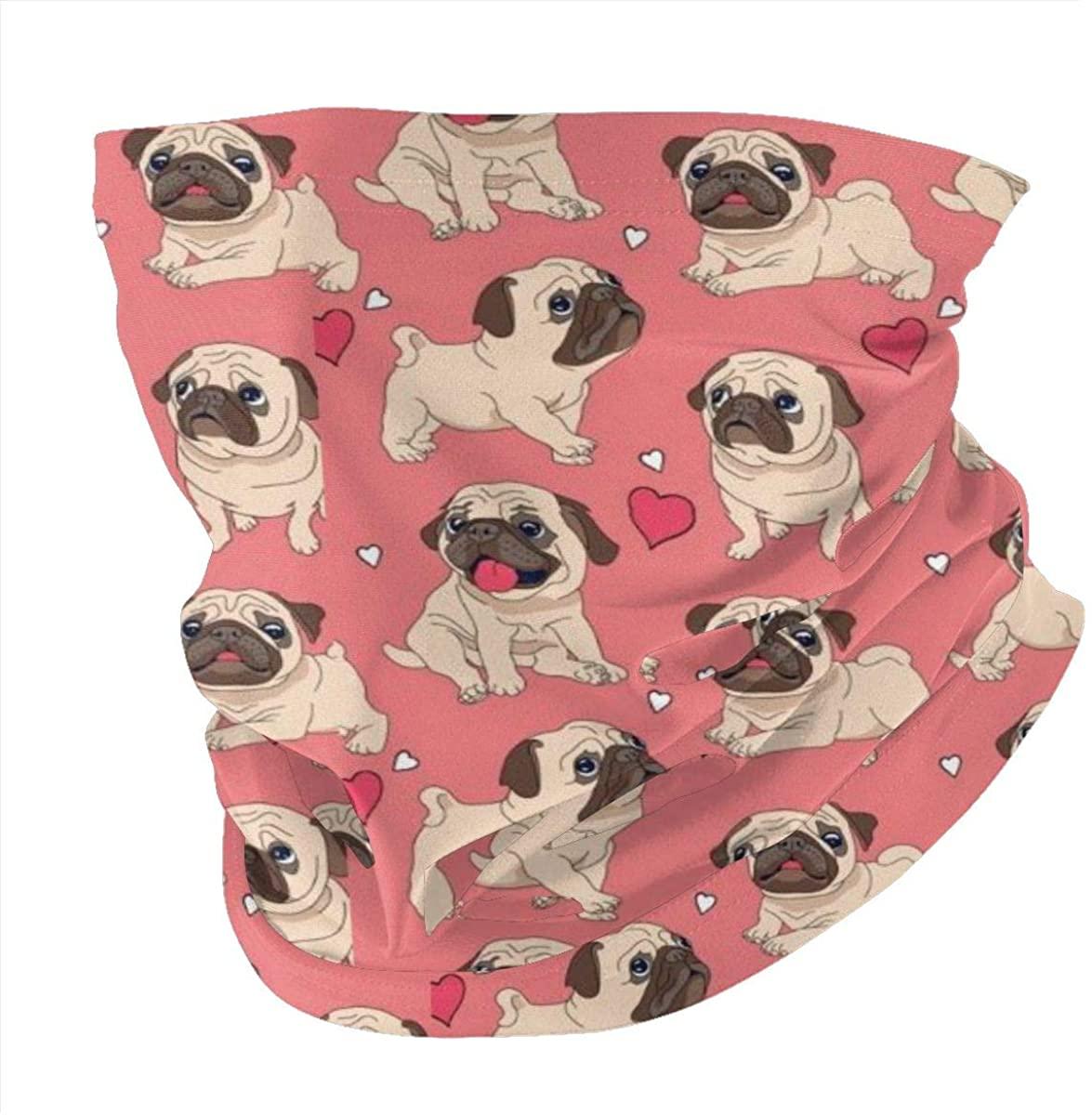Valentine's Day Heart Pug Dog Face Mask Bandanas Multifunctional Unisex Headband Shield Scarf Neck Gaiters for Dust, Outdoors, Festivals, Sports Black