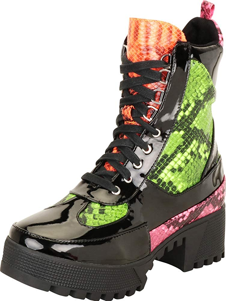 Cambridge Select Womens Lace-Up Chunky Lug Platform Block Heel Utility Combat Boot