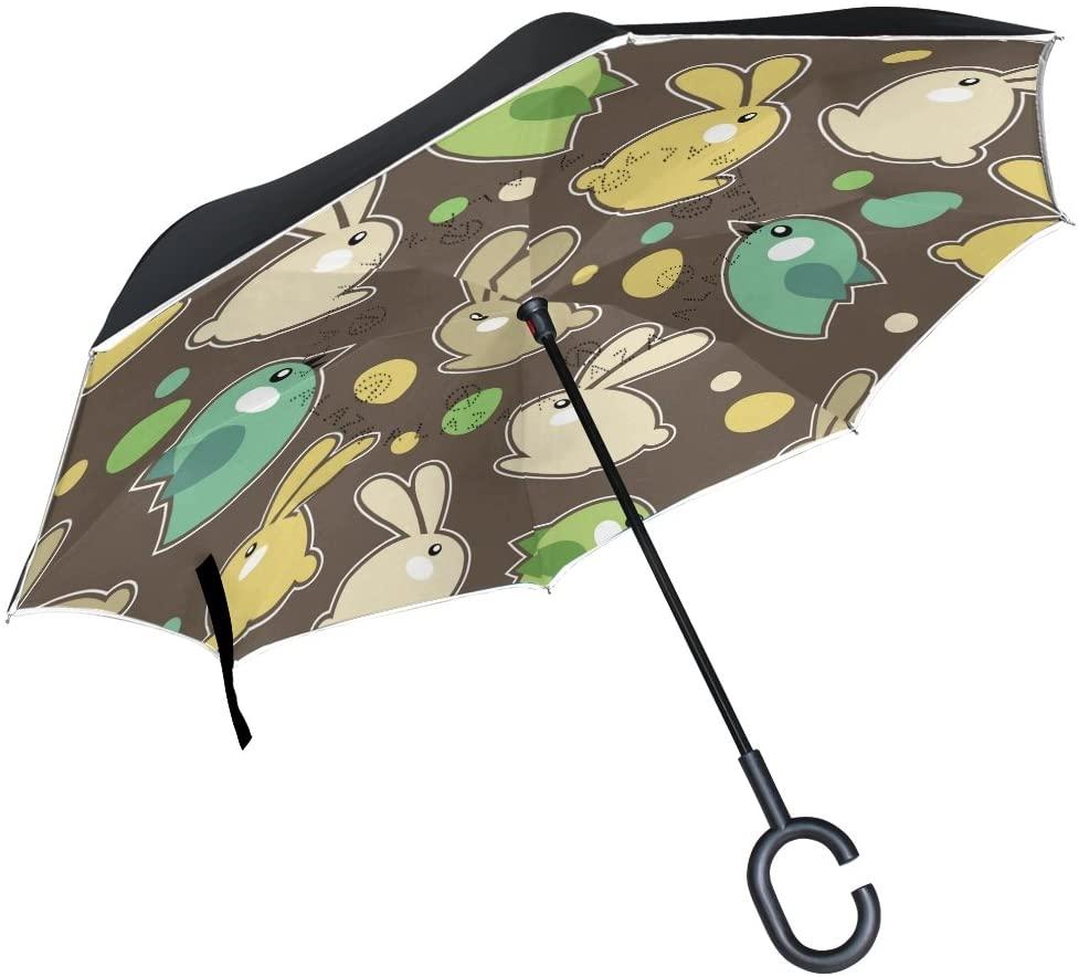 OREZI Rabbits and ChickensInverted Umbrella Double Layer Reverse Umbrella Windproof UV Protection C-Shaped Self-Stand Umbrella for Car Rain Outdoor Travel Woman Man