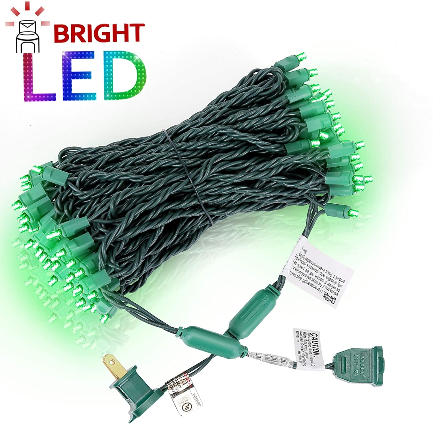 AIDDOMM LED Christmas Lights 100 Counts, for Outdoor and Indoor, Commercial Grade, Green Light, Green Wire, 50ft, UL Listed
