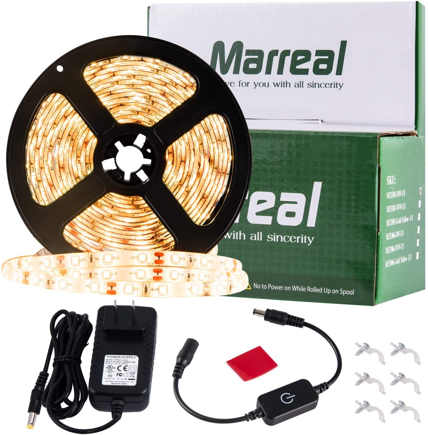 Marreal LED Strip Lights Outdoor Dimmable Gold Yellow 16.4ft/5m Waterproof Amber Rope Lights 2835 300LEDs Super-Adhesive with UL-Listed Power Adapter for Cabinet Bar Party Bedroom Decor