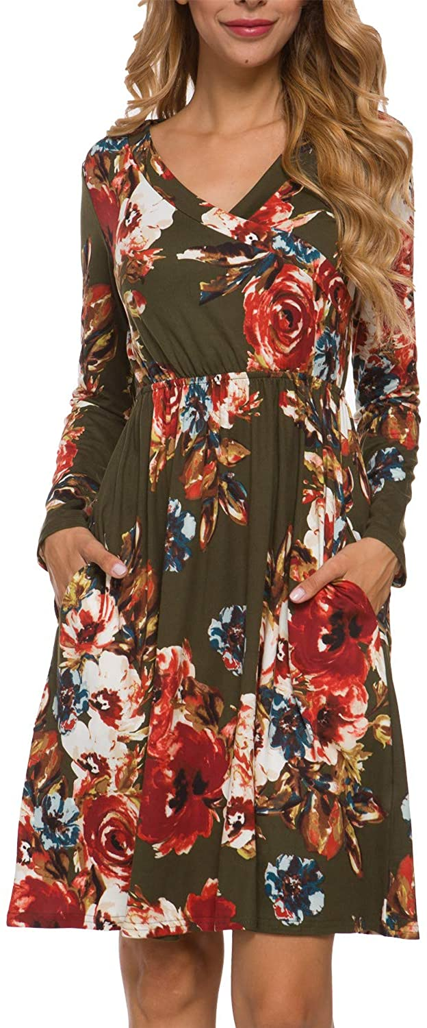 LAINAB Womens Floral Fall Long Sleeve Pockets Casual Tunic T Shirt Dress