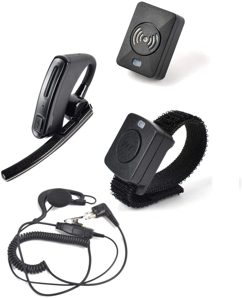 HYS Two-Way Radio Wireless Bluetooth Earpiece Headset, G Shape Earpiece with PTT Microphone for Motorola 2-Pin Walkie Talkies CLS1110 CLS1410 CP200 CP185