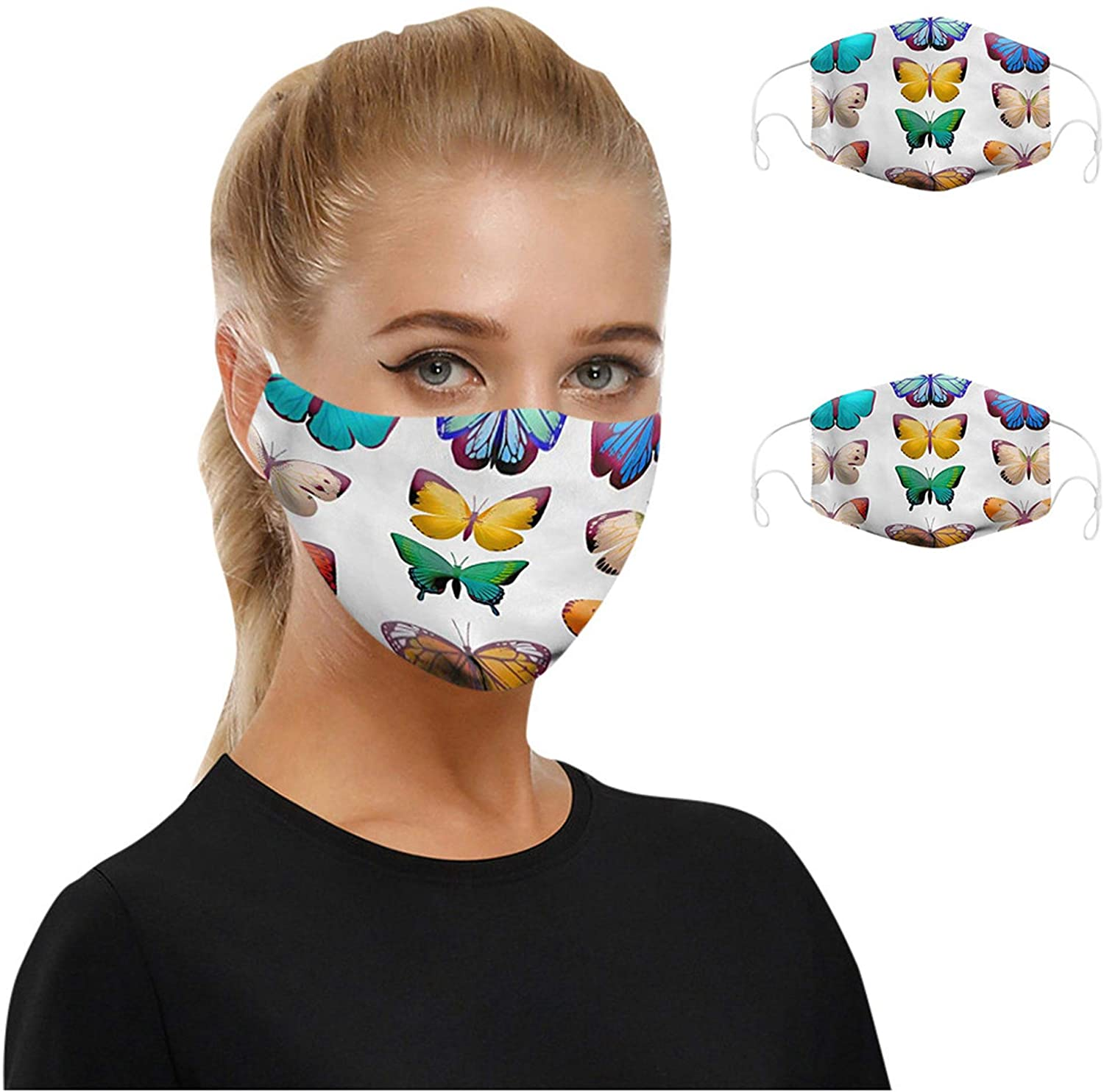 Face_Mask with Butterfly Print Face Bandanas Haze Dust Face Health Protection for Adults