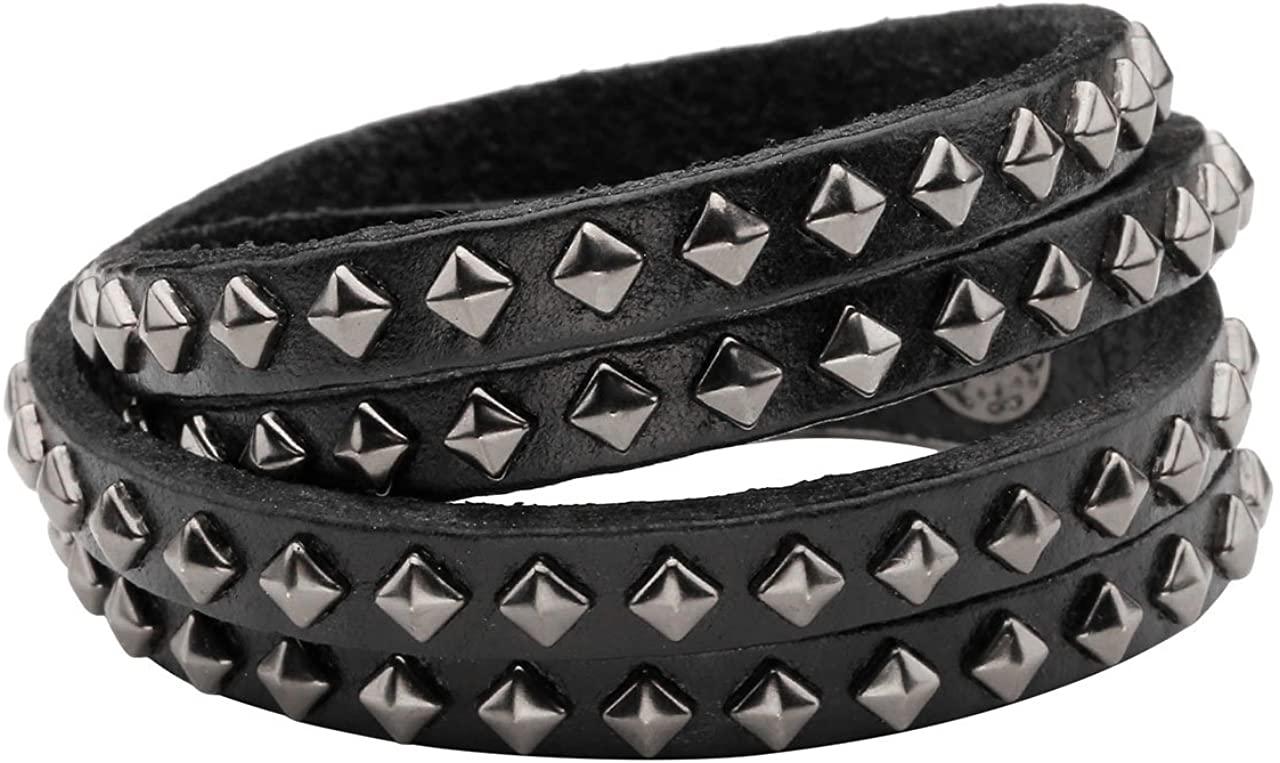 PiercingJ Mens Black Genuine Leather Wide Cuff Bracelet Gothic Metal Spike Studded Link Chain Unisex Punk Rock Adjustable Wristband