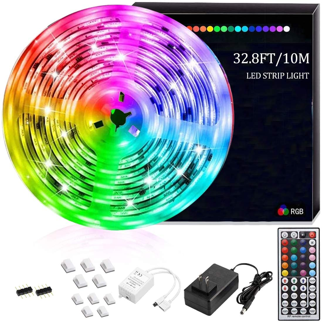Ajaol Led Strip Lights Kit 32.8Ft/10M 5050 RGB SMD LED Band Light, with Power Supply and 44Key IR Controller, LED Flexible Lights for Bedroom, Home, Sitting Room, Kitchen and Under Cabinet Decoration
