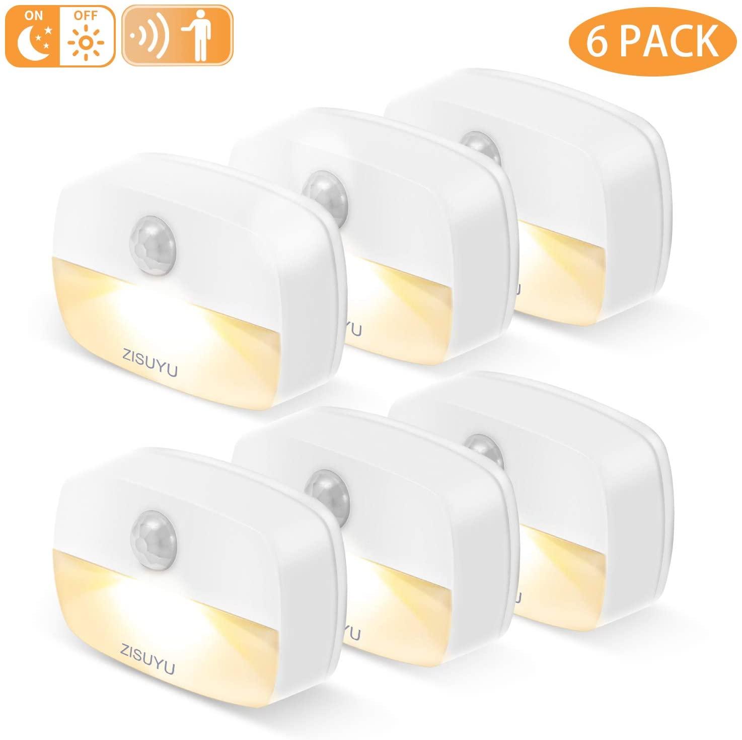 ZISUYU Motion Sensor Light Indoor, Battery-Powered LED Night Light, Stick-Anywhere Nightlight, Battery Operated Lights, Wall Lights, Ideal for Closet, Hallway, Kitchen, Bathroom, Bedroom, Stairs