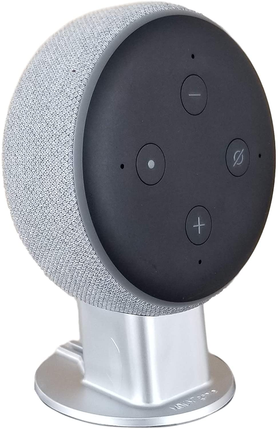 Mount Genie Dot 3rd Generation Pedestal Table Holder | Improves Sound Visibility and Appearance | Designed in USA (Silver)