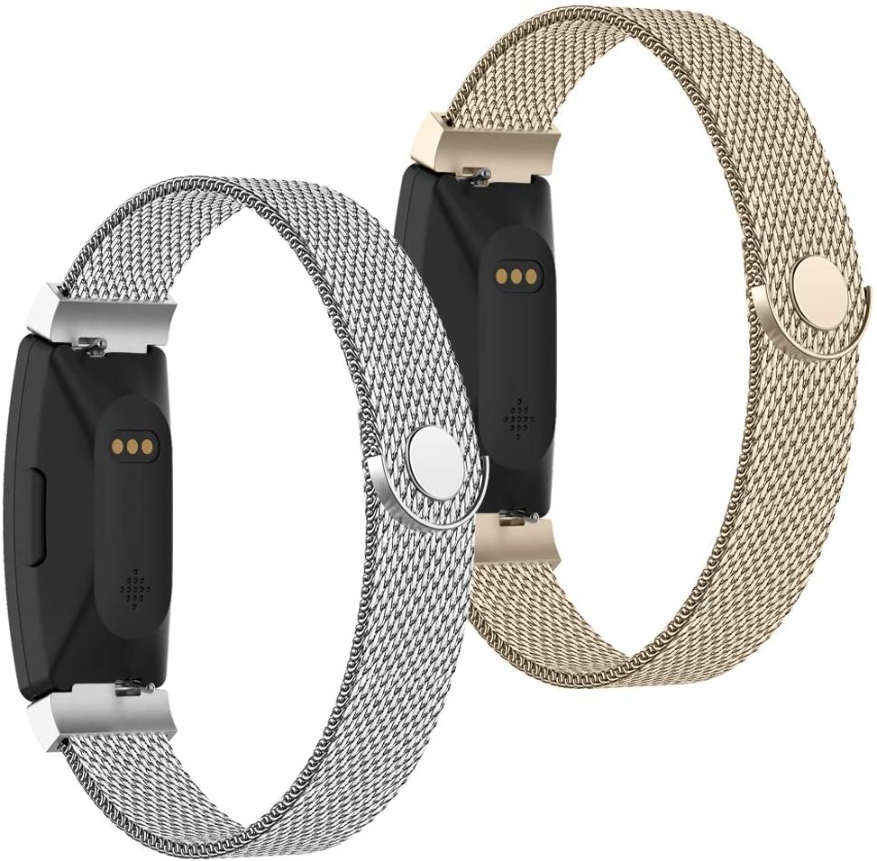 POY Compatible with Fitbit Inspire Hr Bands, Stainless Steel Replacement for Fitbit Inspire and Ace 2 Metal Loop Bracelet Sweatproof Wristbands for Women Men 2 Packs Silver Champagne Small
