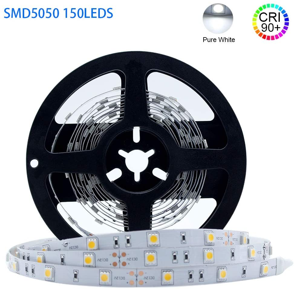 LightingWill LED Strip Light CRI90 SMD5050 16.4Ft(5M) 150LEDs Daylight White 5000K-6000K 30LEDs/M DC12V 36W 7.2W/M 10mm White PCB Flexible Ribbon Strip with Adhesive Tape Non-Waterproof H5050PW150N