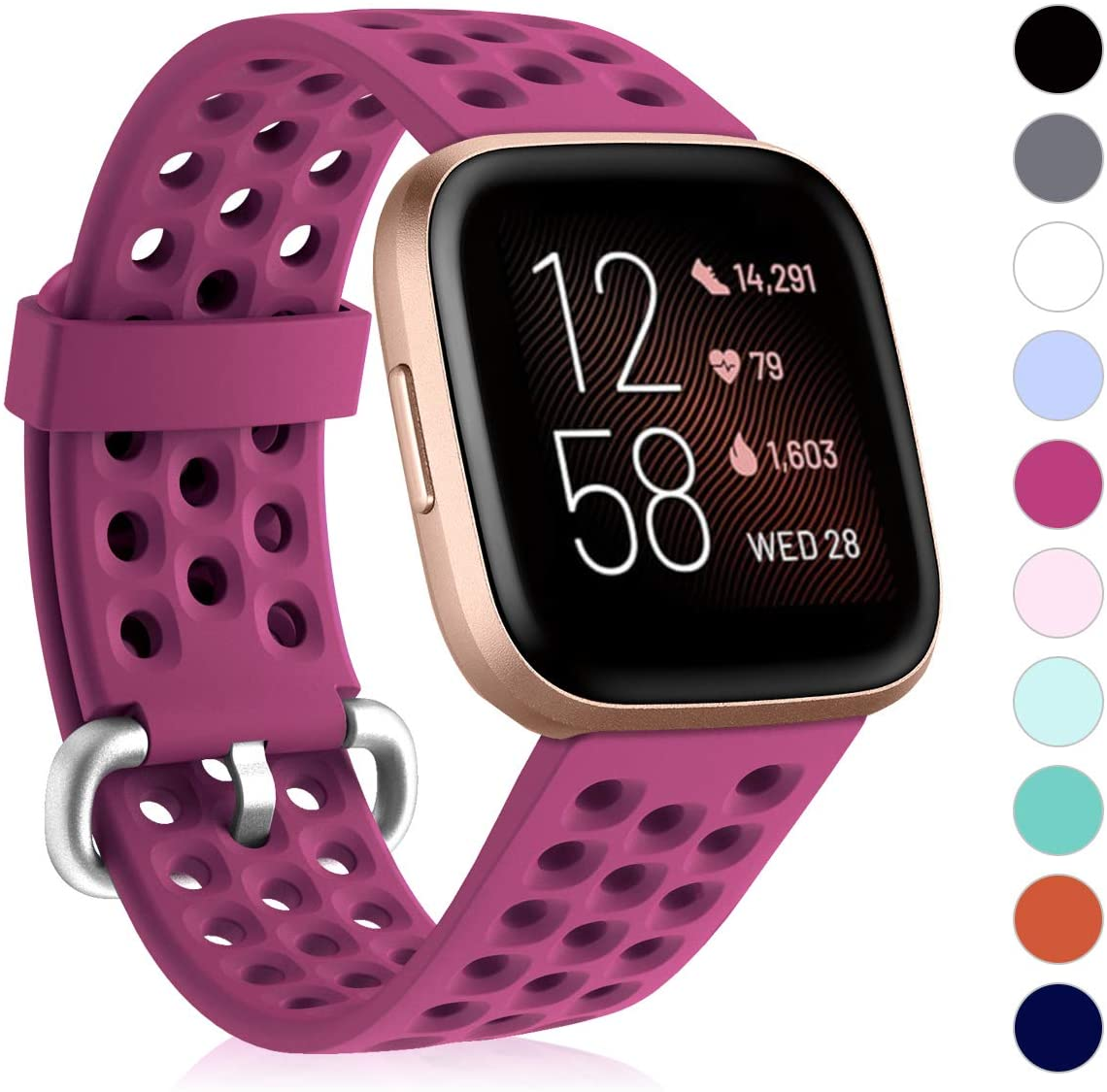 CAVN Sport Bands Compatible with Fitbit Versa 2 / Versa/Versa Lite Bands for Women Men, Soft Waterproof Breathable Silicone Replacement Smart Watch Strap, Wine, L(6.5-9.1in)