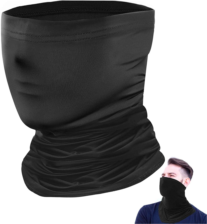 Hurdilen Face Cover Mouth Mask Bandanas Neck Gaiter Headwear for Dust, Outdoors, Festivals, Sports Black