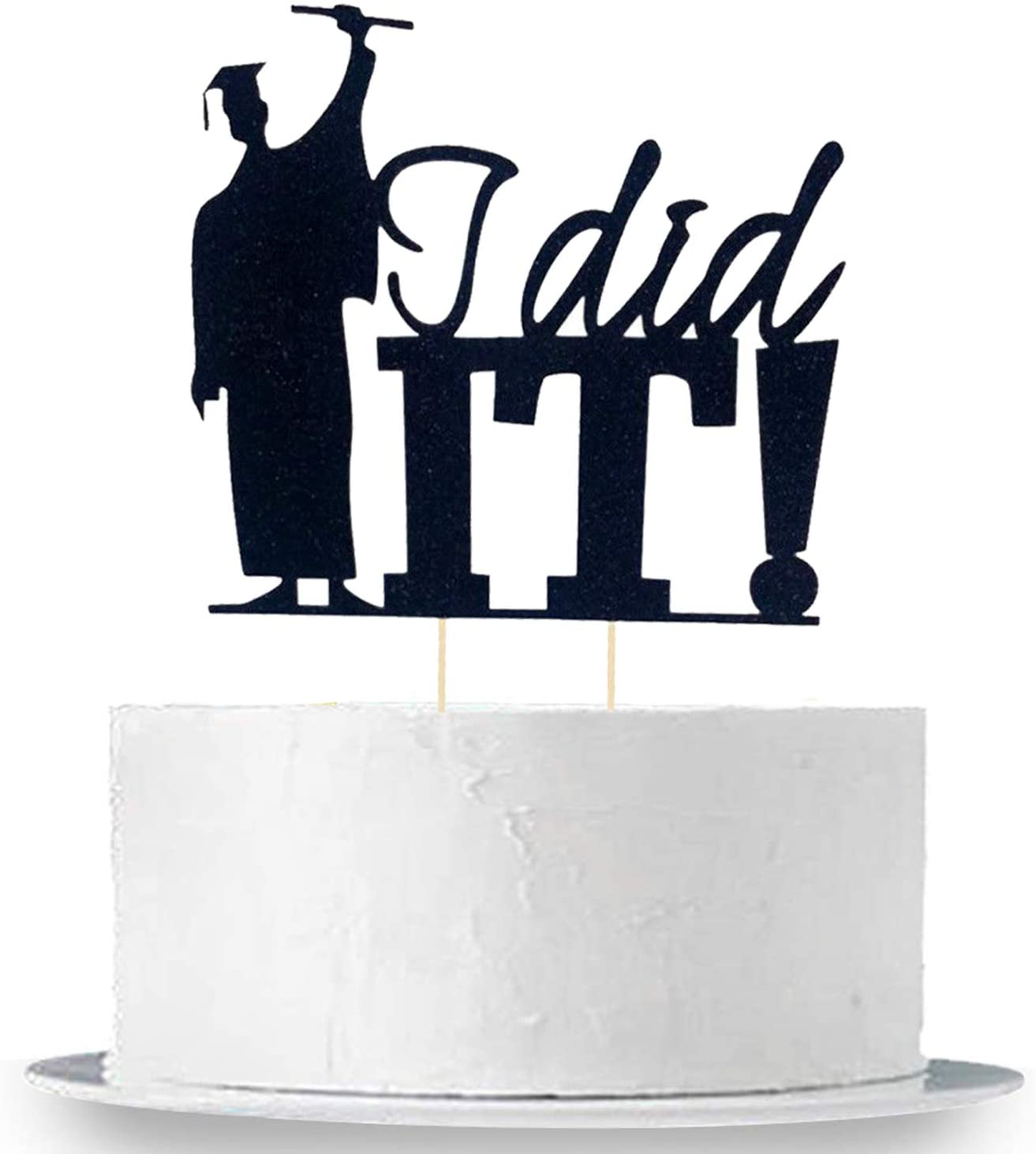 Graduation Cake Topper Decorations - Large Size, I Did It - Grad Holding Degree with Joy of Success | Graduation Cake Toppers 2020 | Graduation Cake Decorations | Party Supplies for Graduation - Black