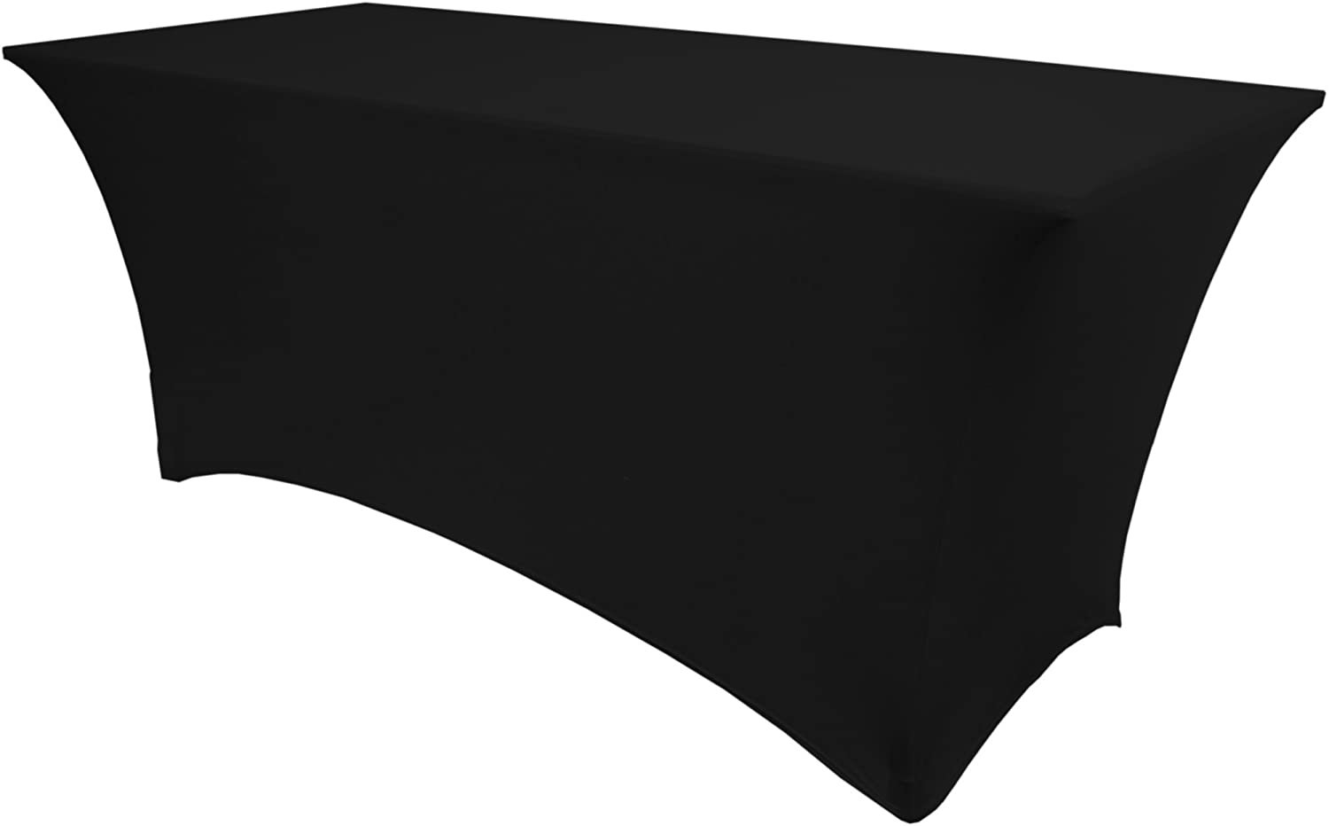 Ultimate Textile -5 Pack- 6 ft. Fitted Spandex Table Cover - Fits 18 x 72-Inch Rectangular Tables, Black