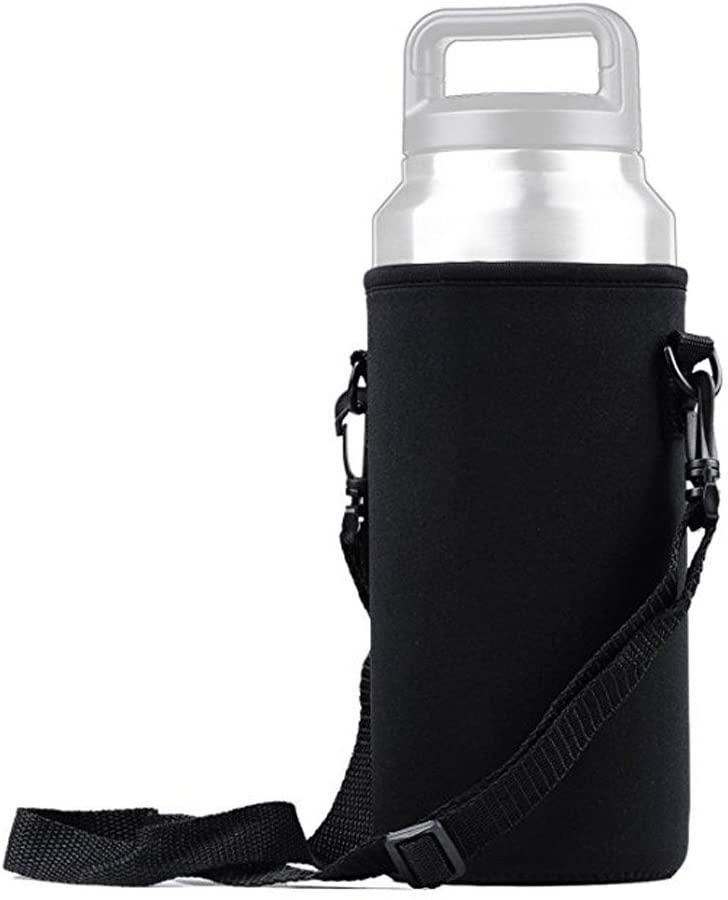 36oz Tumbler Water Bottle Case Holder Carrier Sleeve Covers with Shoulder Strap for Yeti Tumbler Rambler for Travel Walking Hiking Kits Camping, Removable Shoulder Strap, Black
