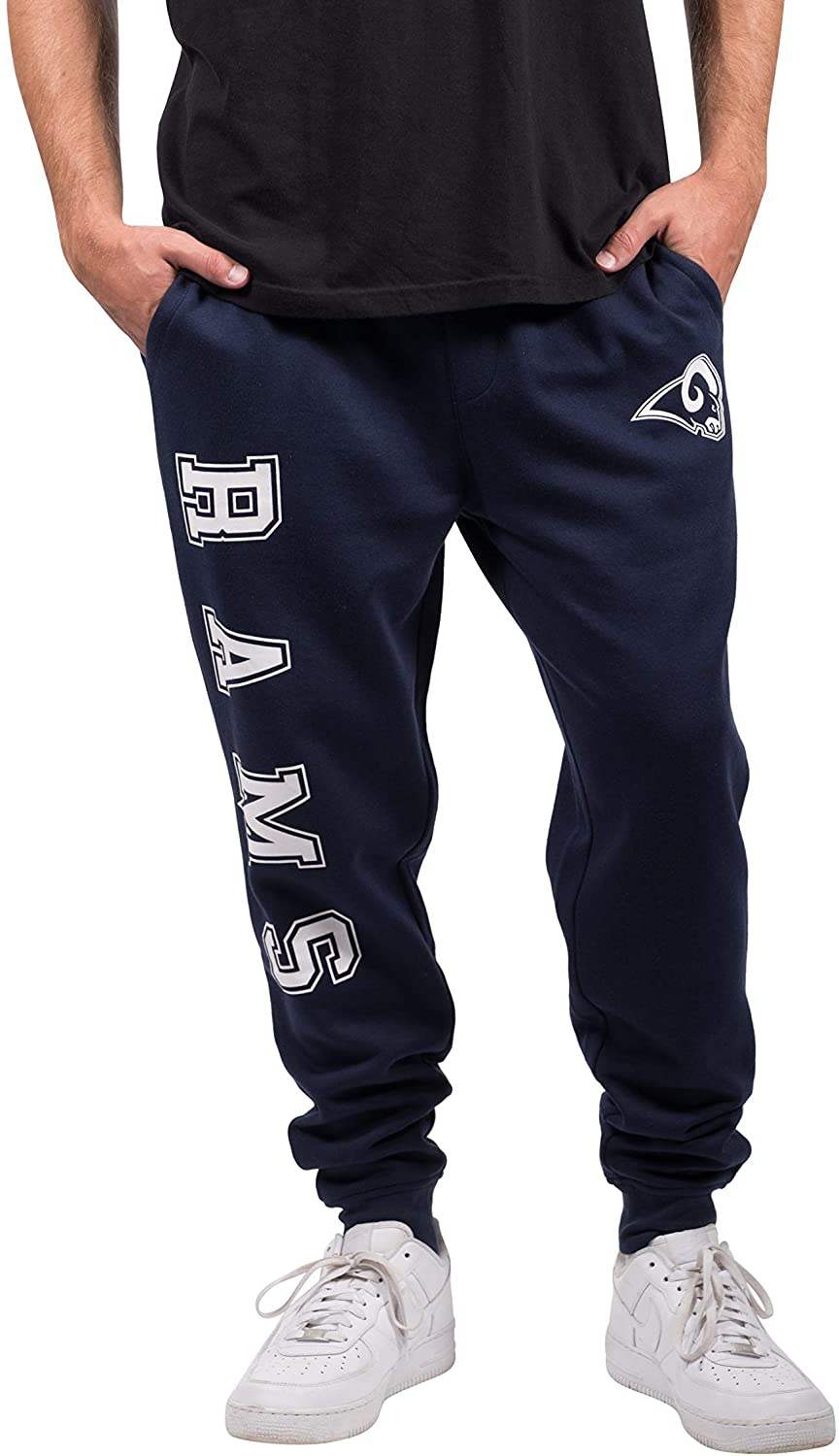 Ultra Game NFL Los Angeles Rams Mens Jogger Pants Active Basic Fleece Sweatpants, Team Color, Medium