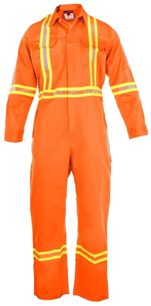 Flame Resistant FR High Visibility Hi Vis Coverall - 88% C/12% N (Small, Orange)