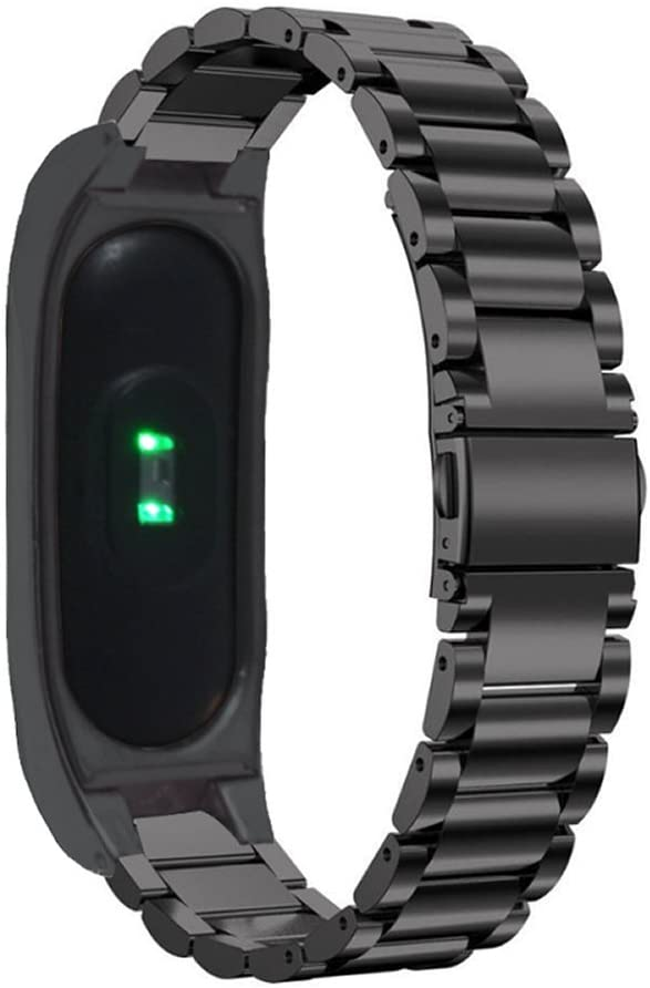 PINHEN Compatible with Xiaomi Mi Band 2 Strap - Stainless Steel Metal Wrist Strap Wristband Bracelet Replacement for Xiaomi Mi Band 2 Accessories with Metal Frame (Black)
