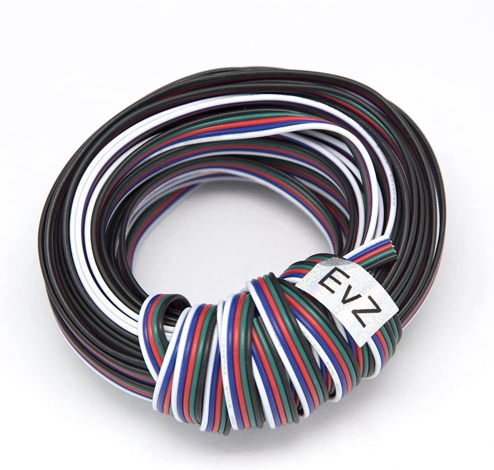 EvZ 5 Color 10m RGBW Extension Cable Line for LED Strip RGBW 5050 Cord 5pin