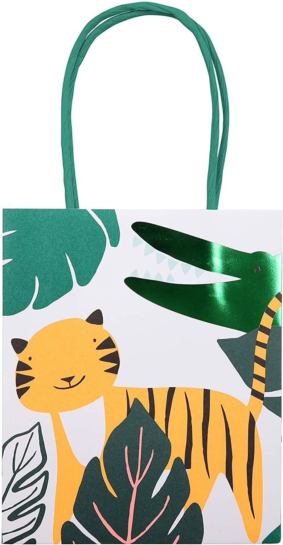 Meri Meri Go Wild Party Bag - Pack of 8 - Neon Print & Green Foil Detail