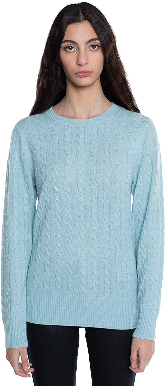 JENNIE LIU J CASHMERE Women's 100% Cashmere Long Sleeve Pullover Crew Neck Sweater