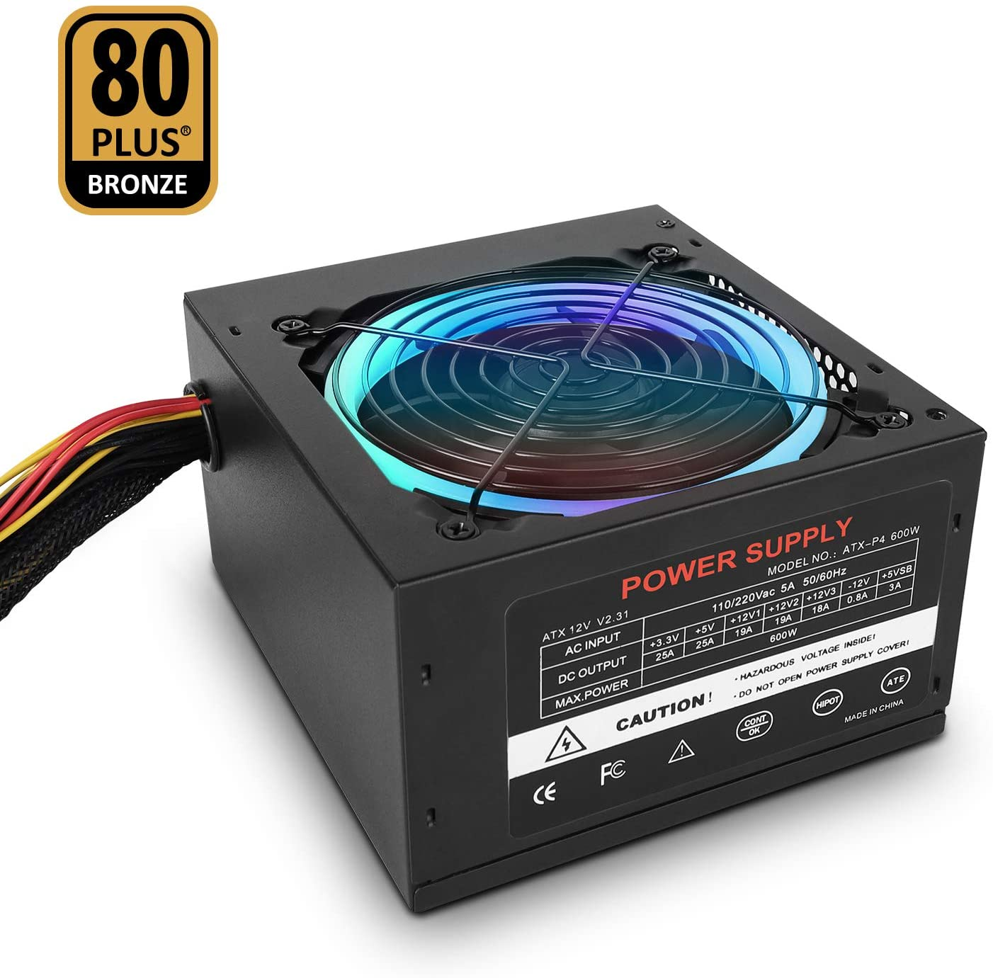 Studio 21 Graphix PC Power Supply 600W, ATX Power Supply 80+ Bronze Certified with RGB Light, Continuous Power with 120mm Ultra Quiet Cooling Fan