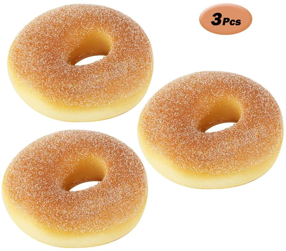 R STAR 3 Pcs Artificial PU Fake Doughnut Food Bread Decoration Model Kitchen Toys Prop, 3 x 3 inches