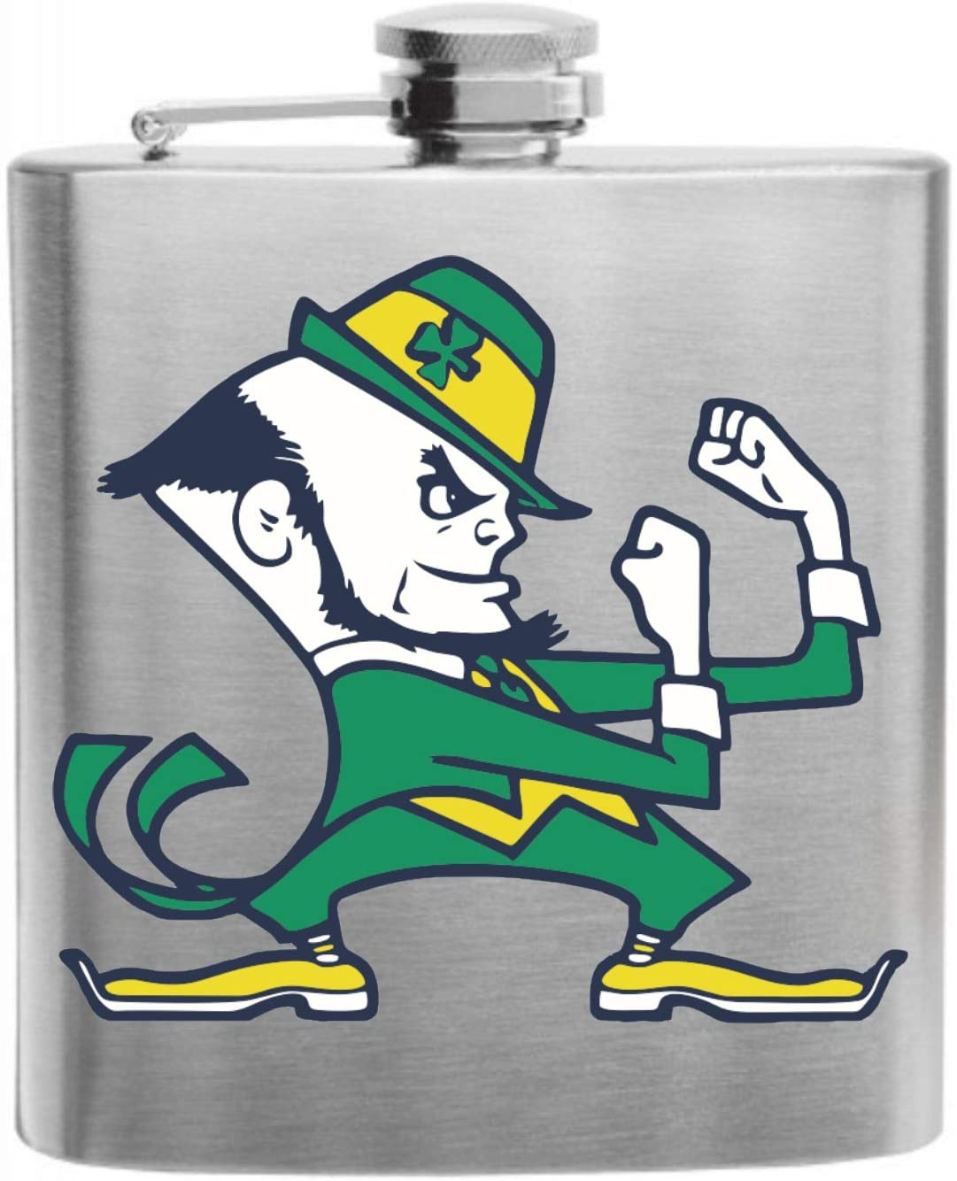 Fighting Irish Full Color Funny Fighting Leprechaun Custom Printed Stainless Steel Alcohol Hip Flask, 6 Oz. Stainless Steel