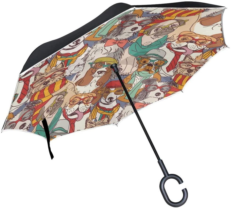 senya Inverted Umbrellas Cartoon Dogs Double Layer Folding Umbrella Windproof Anti-UV Windproof Travel Umbrella for Women and Men