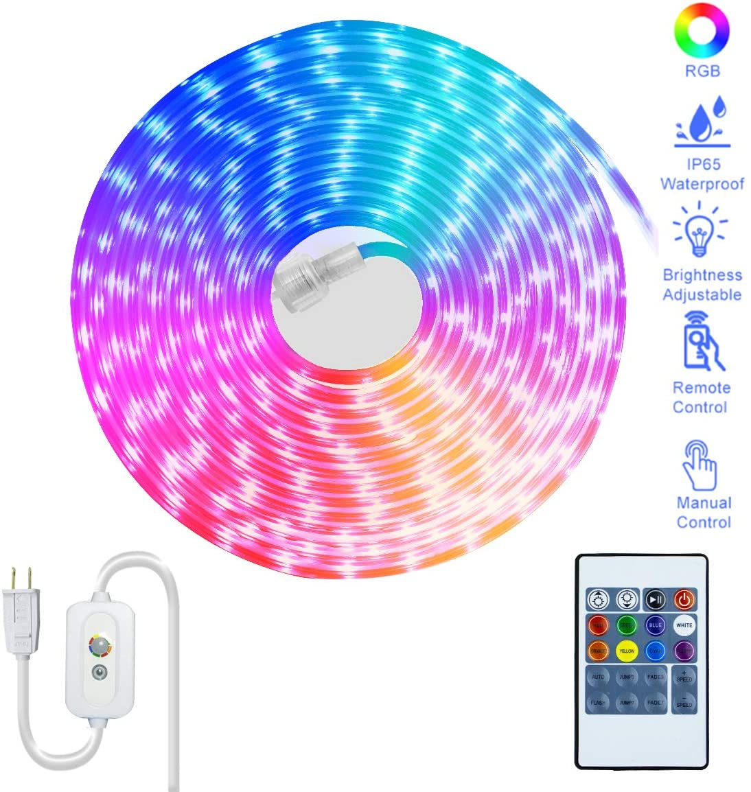 Flat Flexible LED Rope Lights,50 Feet Color Changing RGB Strip Light with Remote Control,Manual Control Direct Plug in Novelty Lighting, Connectable and Waterproof for Decoration Lighting