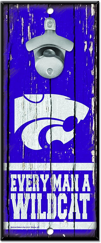NCAA Kansas State Wildcats Wood Bottle Opener Sign, 5 x 11, Multicolor