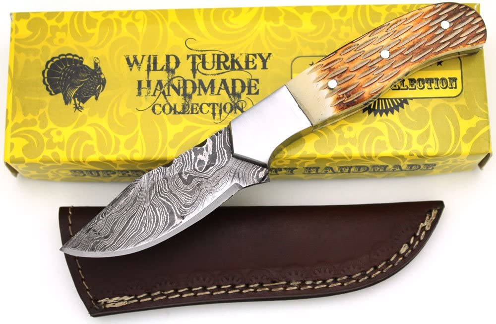 Wild Turkey Handmade Damascus Collection Full Tang Burned Bone Handle Full Tang Fixed Blade Knife Hunting Camping Fishing Outdoors