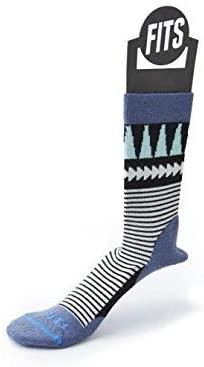 FITS Women's Light Hiker – Crew: Outdoor Socks, Steel Blue, M