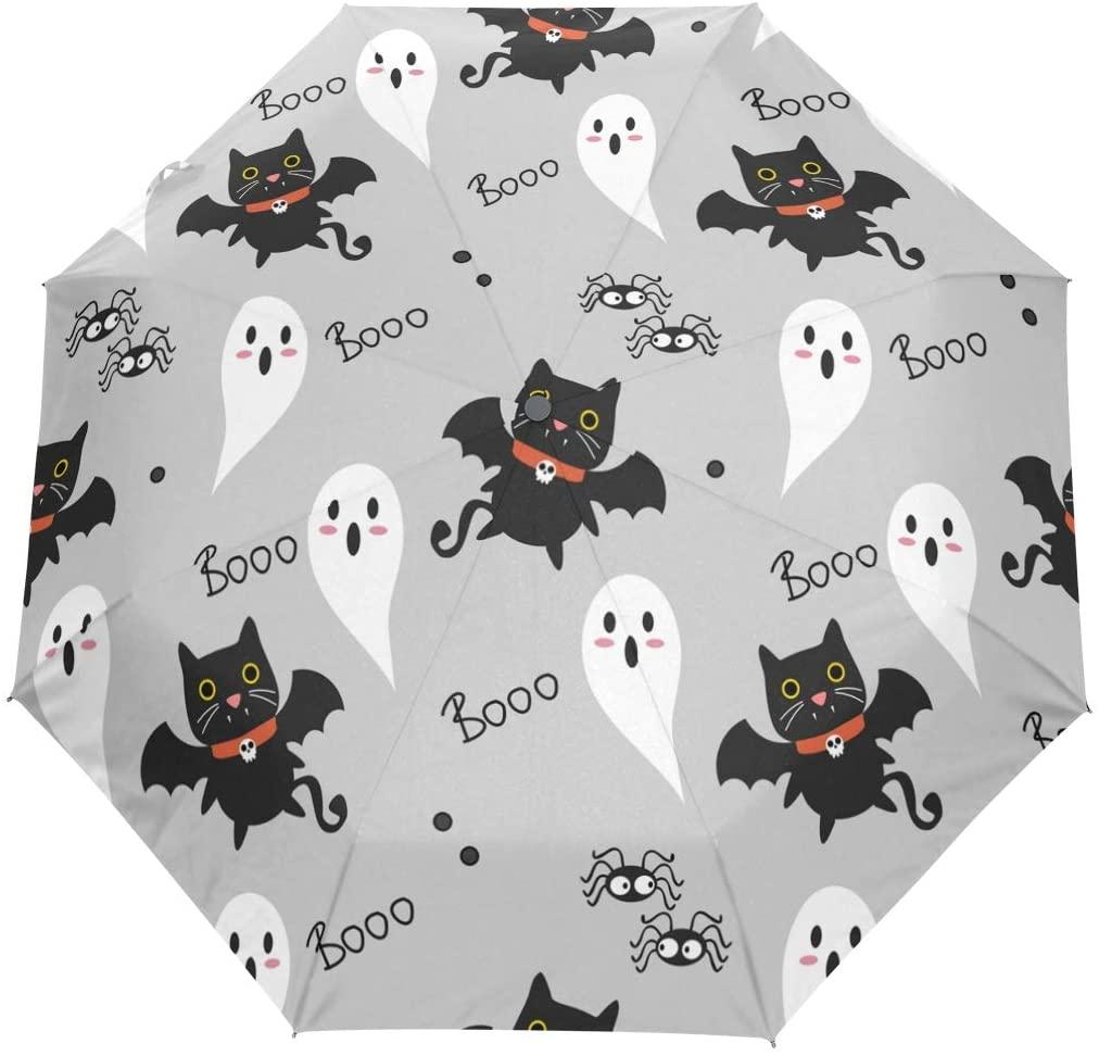 CiCily Black Bat Compact Travel Umbrella Sun & Rain Auto Open Close Windproof Folding Umbrellas