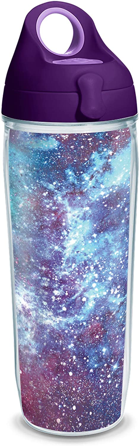 Tervis Galaxy Insulated Tumbler with Wrap and Purple Lid, 24oz Water Bottle, Clear