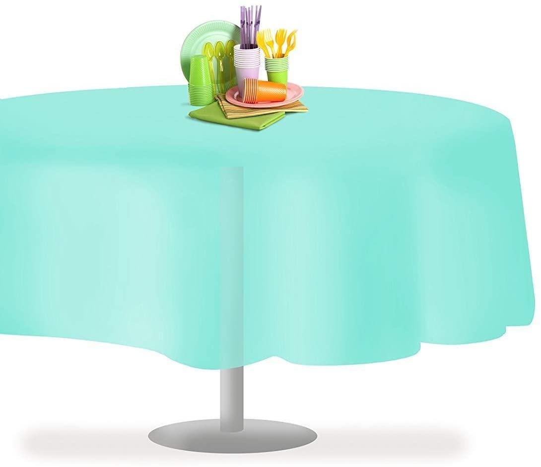Aincanlx Aqua 6 Pack Premium Disposable Plastic Tablecloth 84