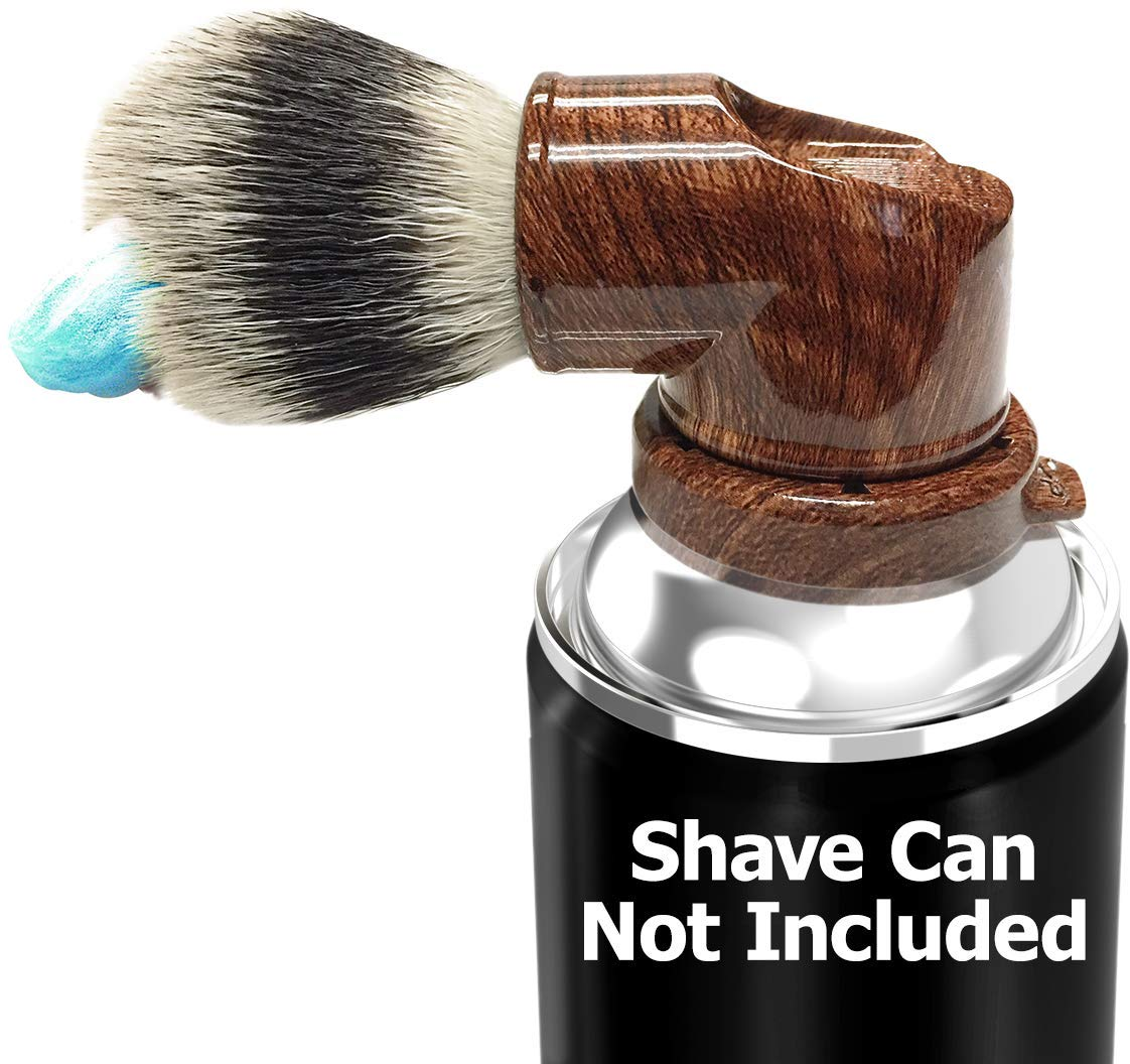 Legacy Shave Evolution Brush - World's 1st Shave Can Brush Detachable works with all Razors even Straight, Double Edge Attach to Most Shaving Cream or Gel Cans - Unique Gift for Men (Wood Grain)