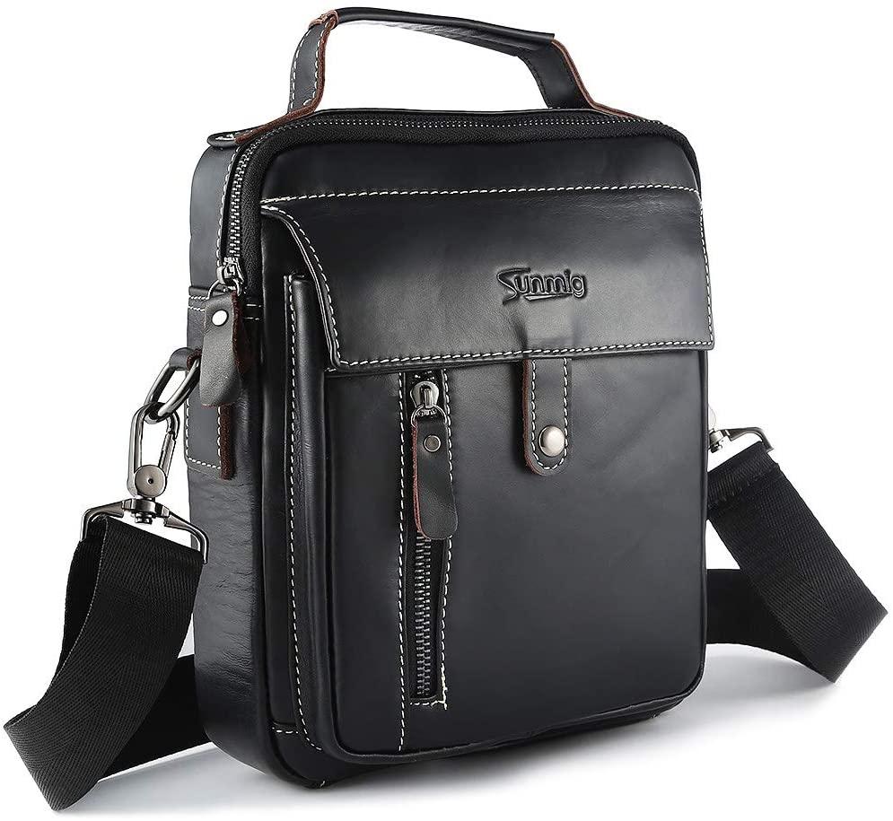 Men's Genuine Leather Shoulder Bag Handbag Crossbody Messenger Bag for ipad Work Travel Business (Black)