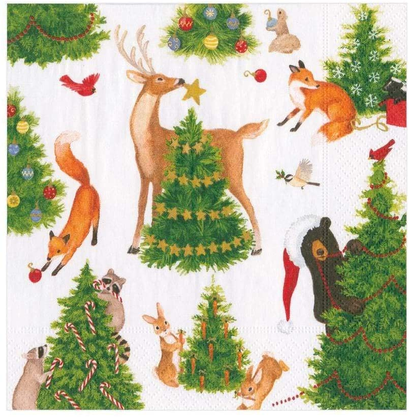 Caspari Forest Christmas Paper Luncheon Napkins - 20 Per Package