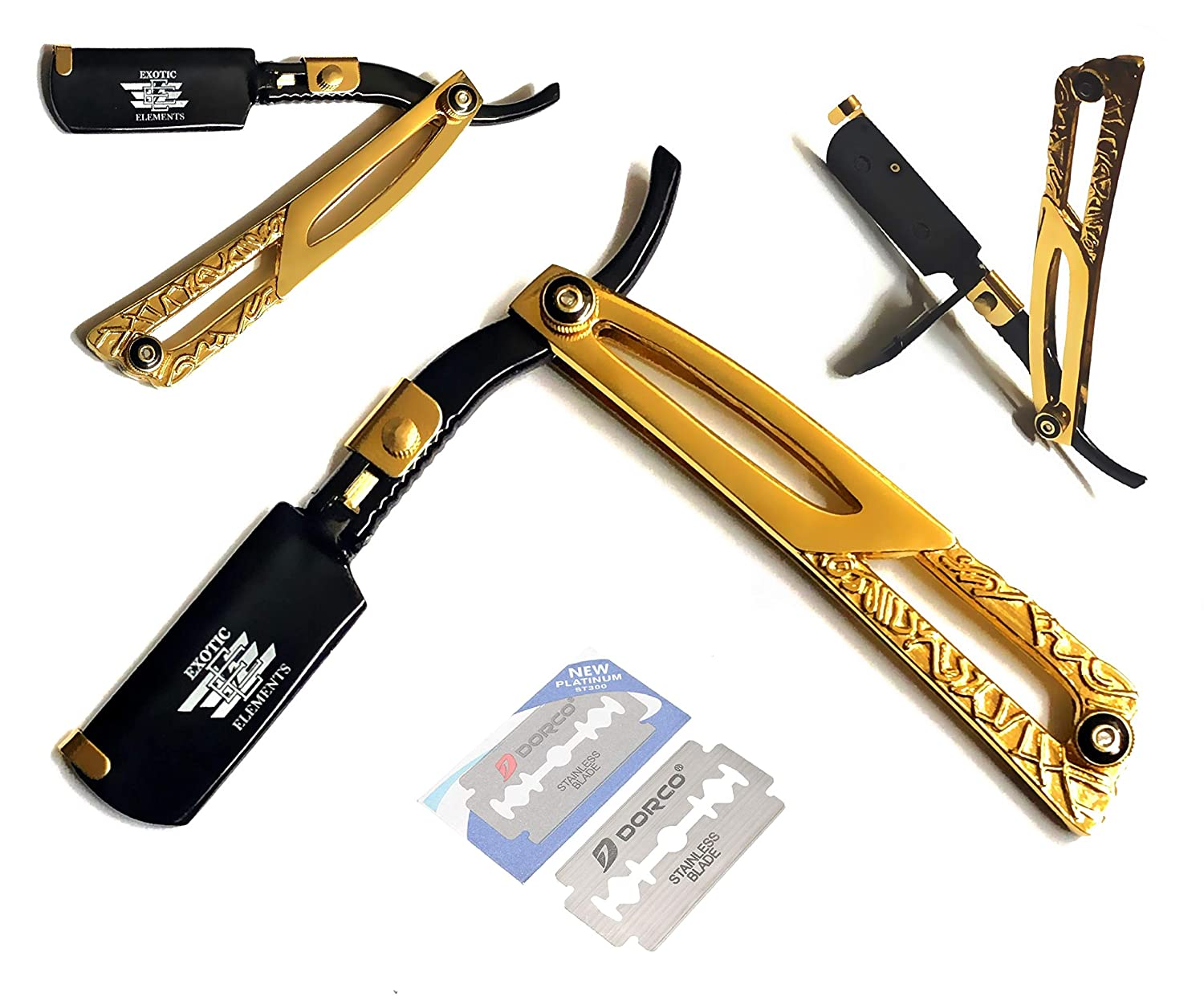 Gold and Black Limited Edition Exclusive Professional Barber Straight Edge Razor - Beauty Salon Beauty Parlor Quality Cut Throat Shavette - All Purpose Shaving Razor