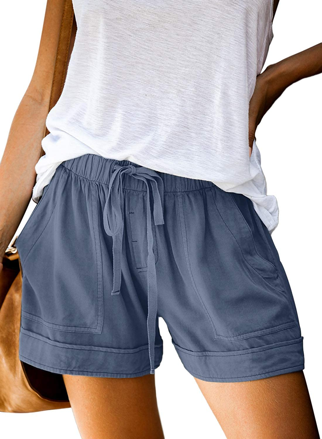 Falags Women's Casual Shorts Summer Drawstring Elastic Waist Solid Color Beach Shorts Lounge Pants with Pockets