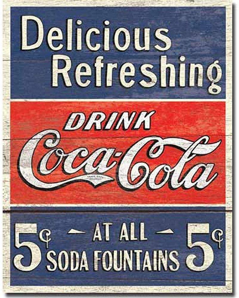 SRongmao Coca Cola Coke Delicious 5 Cents Vintage Look Retro Style Wall Decor Metal Tin Sign 8x12in