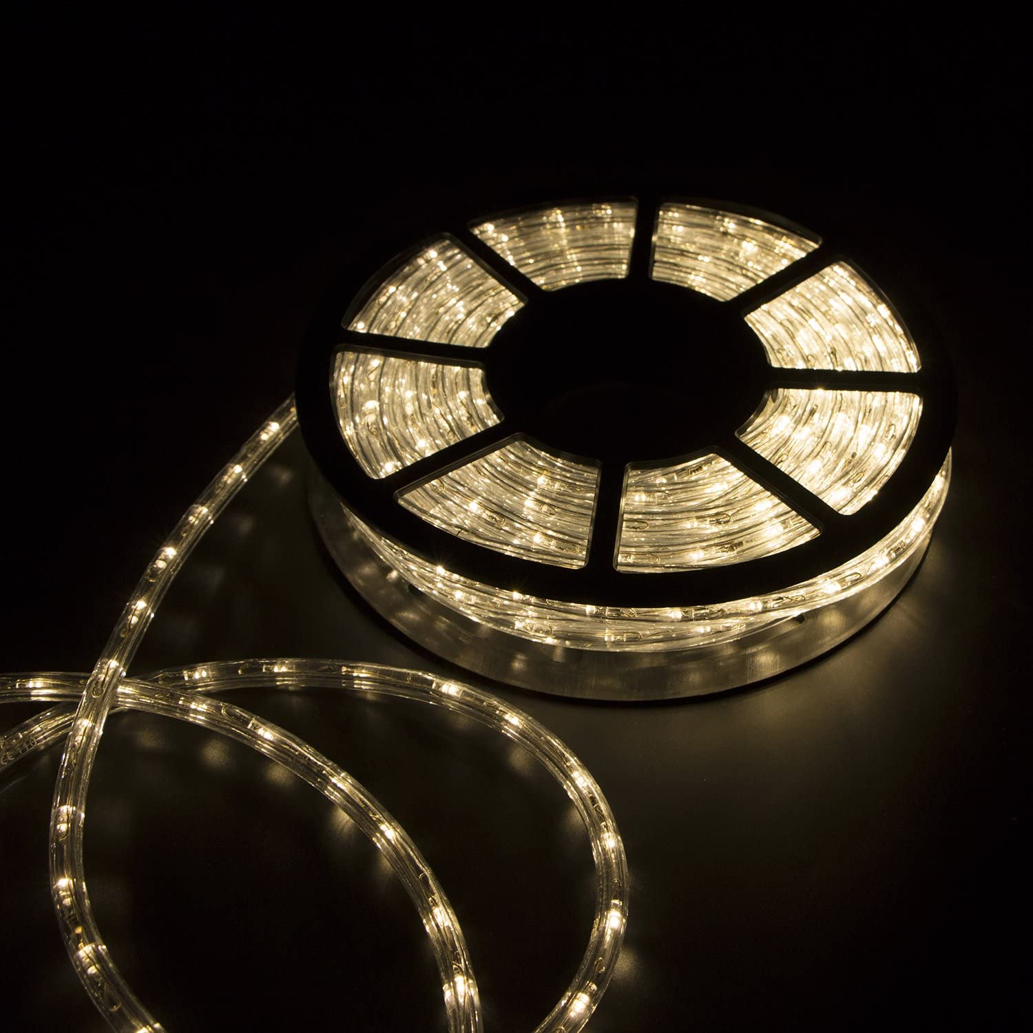 Sliverylake Warm White 100FT led Rope Lights Home in/Outdoor Christmas Decorative Party Lighting 1080 LEDs 2 Wire 110V