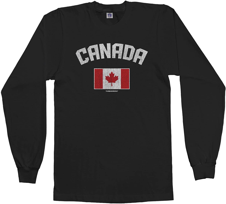 Threadrock Men's Canada Canadian Flag Long Sleeve T-Shirt