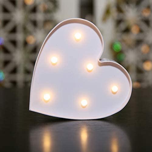 MUMUWIND LED Heart Sign Light,Kids Night Lights Wedding Decor Lamp for Valentine's Day,Birthday Party,Kids Room,Living Room,Wedding Party Decor, Romantic Decoration,Table Lamp(White)