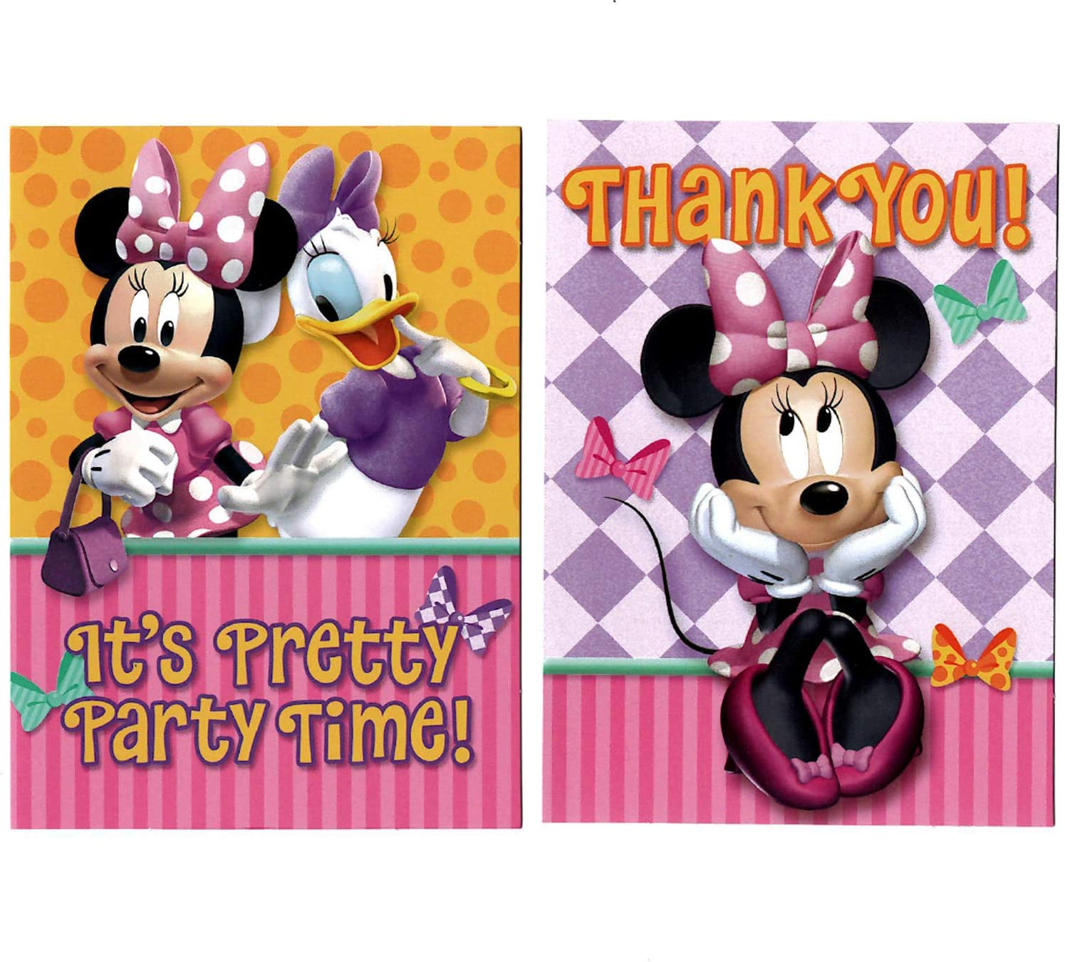 Minnie Mouse Birthday Party Supplies Invitations & Thank You for 16 Guests