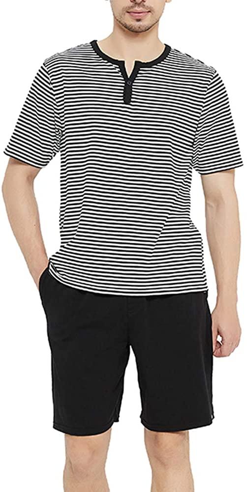 U2SKIIN Mens Cotton Pajama Set, Lightweight Short Sleeve Sleepwear Long Cotton Pajama Bottoms